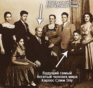 Юный Карлос Слим и его семья